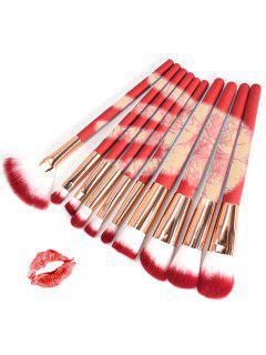 10pcs Couleur Changeant La Brosse De Maquillage De Cheveux De Fibre Synthétique - Rouge