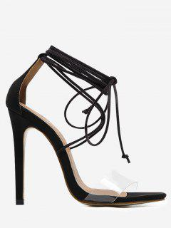 Ankle Strap Stiletto Heel Sandals - Black 40