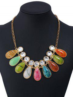 Faux Gemstone Rhinestone Teardrop Charm Necklace