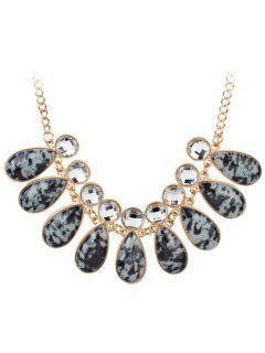 Faux Gemstone Rhinestone Teardrop Charm Necklace - Black