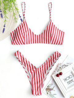 Hohe Schlitz Cami Gestreifter Bikini-Set - Rot & Weiß S