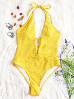 Ribbed Plunge Neckline Plaited Swimwear - Yellow L