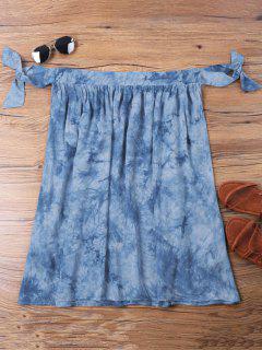 Vestido Con Hombros Descubiertos Y Teñido Anudado - Azul Xl