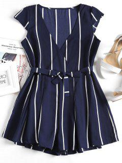 Plunging Neck Striped Belted Romper - Purplish Blue M
