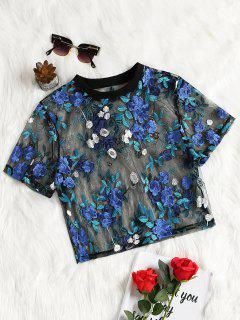 Floral Embroidered See Through Mesh Blouse - Blue M