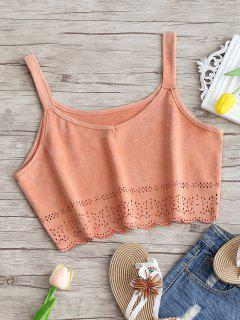 Cropped Laser Cut Faux Suede Tank Top - Pink Smoke M