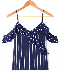 Ruffle Polka Dot Striped Slip Blouse - Cerulean M