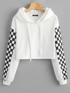 Cropped Kontrast-Hoodie - Weiß Xl
