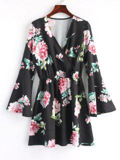 Floral Flared Sleeve Mini Dress - Black M