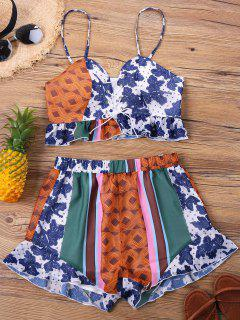 Print Lace-up Shorts Two Piece Set - L
