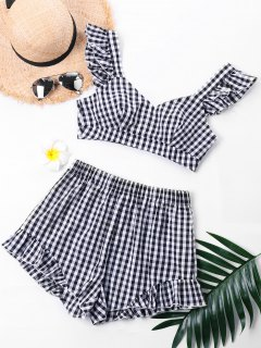 Plaid Ruffle Sweetheart Neck Top With Shorts - M
