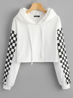 Cropped Contrast Square Hoodie - White M