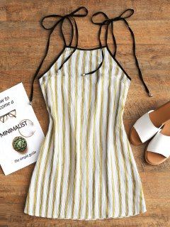 Stripes Mini Slip Dress - Yellow L