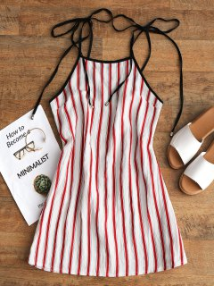 Stripes Mini Slip Dress - Red L