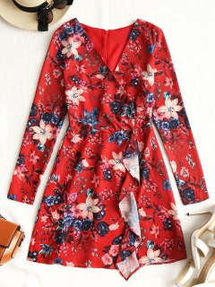 Long Sleeve Ruffles Floral Mini Dress - Red M