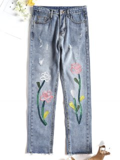 Distressed Cut Off Embroidered Jeans - Denim Blue S