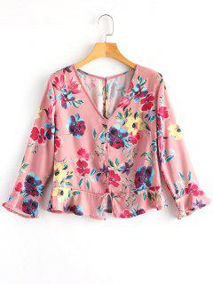 Floral Ruffle Gathered Blouse - Pink S