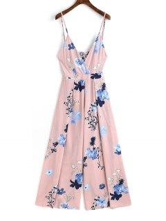 Cami Tied Cut Out Floral Jumpsuit - Pink L