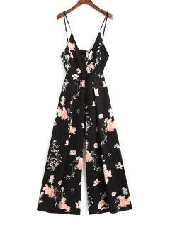 Cami Tied Cut Out Floral Jumpsuit - Black L