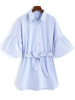 Half Buttoned Stripes Mini Dress - Light Blue L