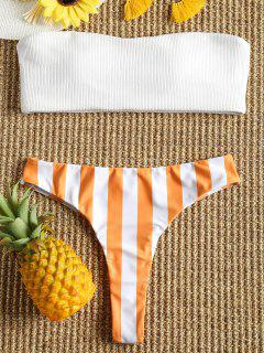 Ribbed Striped Thong Bikini Set - Orange + White M