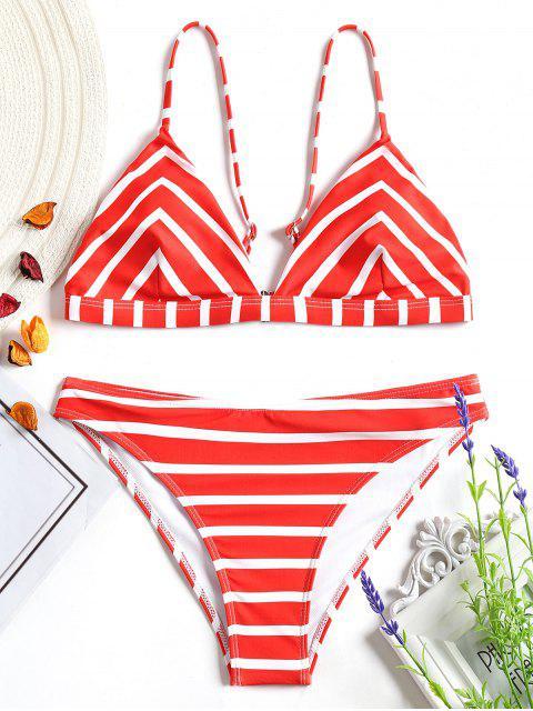 Chevron Gestreiftes Cami Bikini Set - Rot und Weiß S Mobile