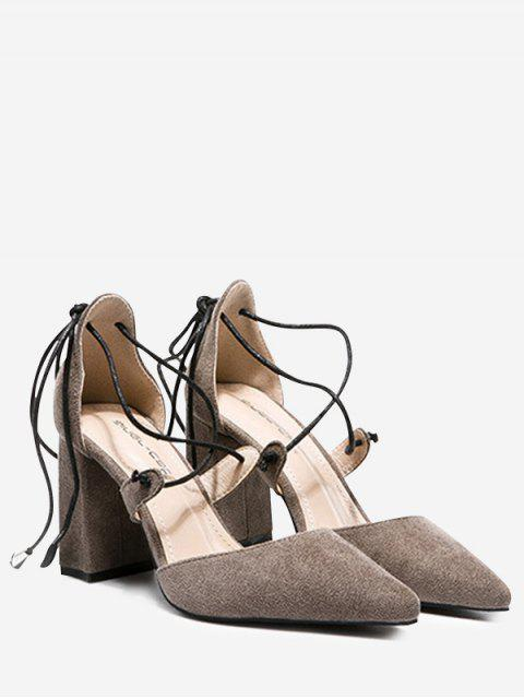 buy Chunky Heel Lace Up Pumps - GRAY 37 Mobile