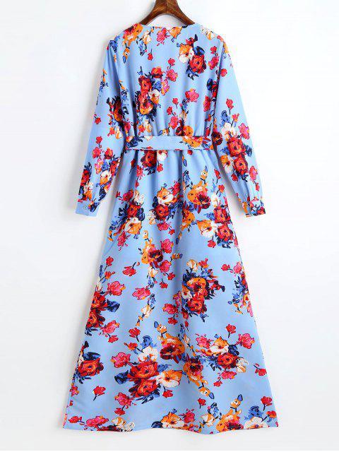 Vestido Maxi com Decote Profundo com Cinto e Estampa Floral - Windsor Azul S Mobile