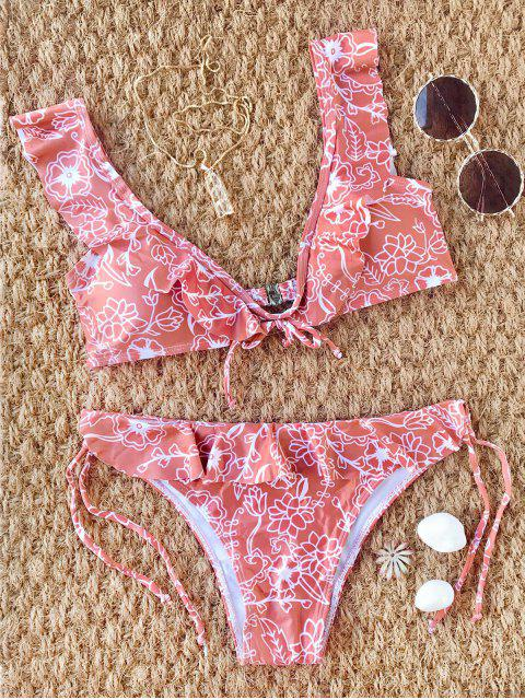 outfits Scooped Floral Frilled Bikini Set - RUSSET-RED S Mobile