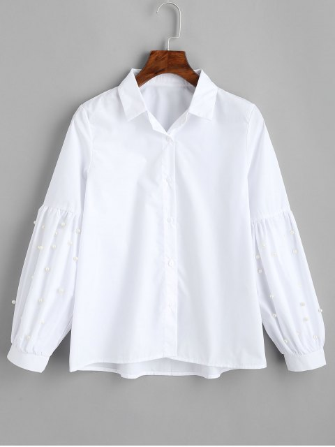 shop Lantern Sleeve Faux Pearls Shirt - WHITE L Mobile