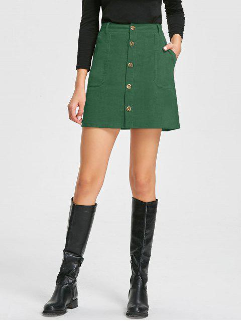 latest Patch Pockets A-line Corduroy Skirt - GREEN XL Mobile