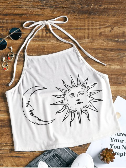 lady Halter Sun and Moon Print Crop Top - WHITE XL Mobile