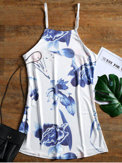 fashion Floral Print Cami Shift Mini Dress - WHITE M Mobile