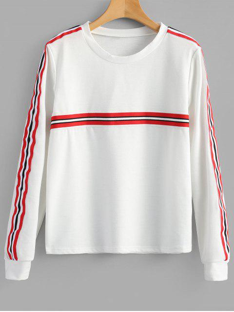 hot Striped Patched Crew Neck Sweatshirt - WHITE XL Mobile