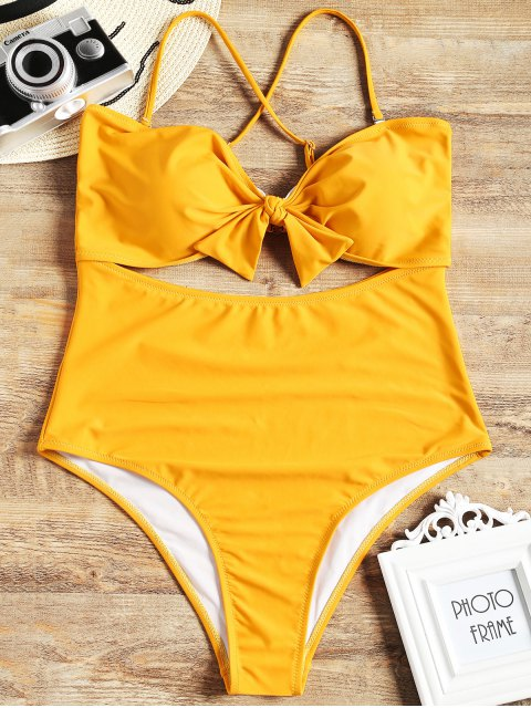 affordable Cut Out Plus Size One Piece Swimsuit - YELLOW XL Mobile