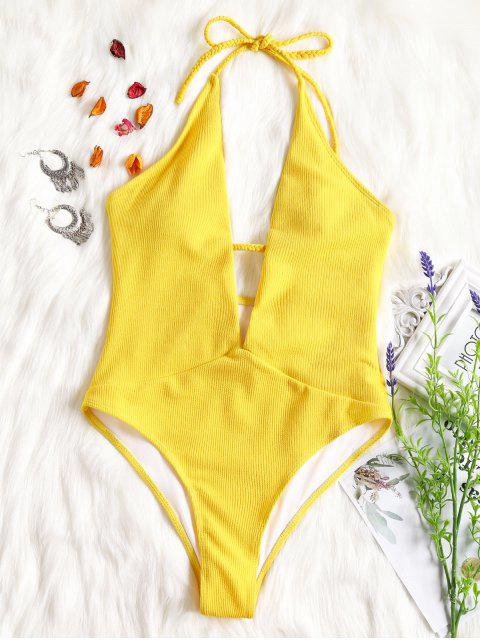 unique Ribbed Plunge Neckline Plaited Swimwear - YELLOW XL Mobile