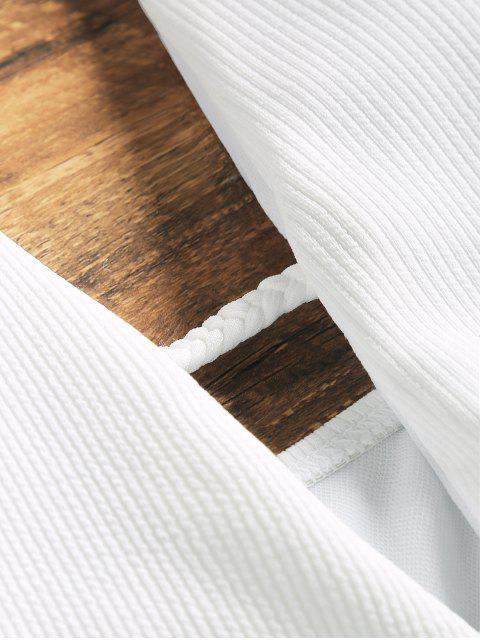 Traje de baño trenzado escote canalé - Blanco M Mobile