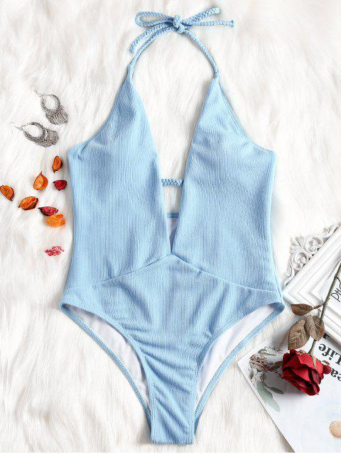 Traje de baño trenzado escote canalé - Azul Claro M Mobile