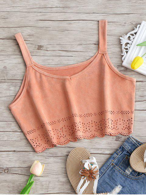 women's Cropped Laser Cut Faux Suede Tank Top - PINK SMOKE M Mobile