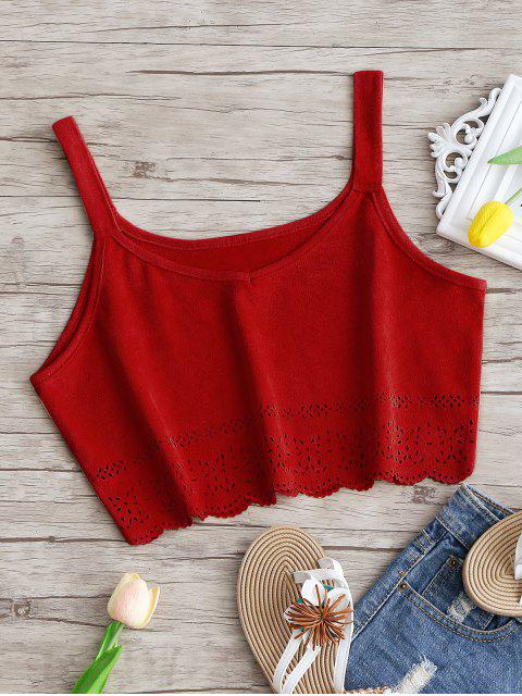lady Cropped Laser Cut Faux Suede Tank Top - DEEP RED L Mobile