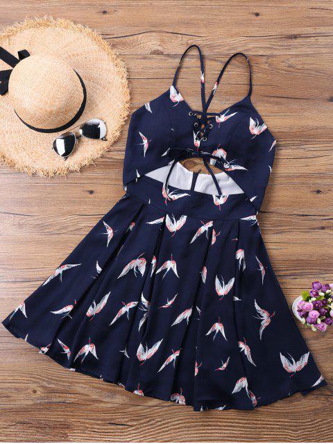 best Cutout Gruidae Criss Cross Sleeveless Dress - PURPLISH BLUE XL Mobile