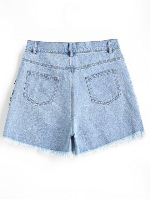 Pantalones cortos de mezclilla deshilachados con estampado de flores - Azul claro L Mobile