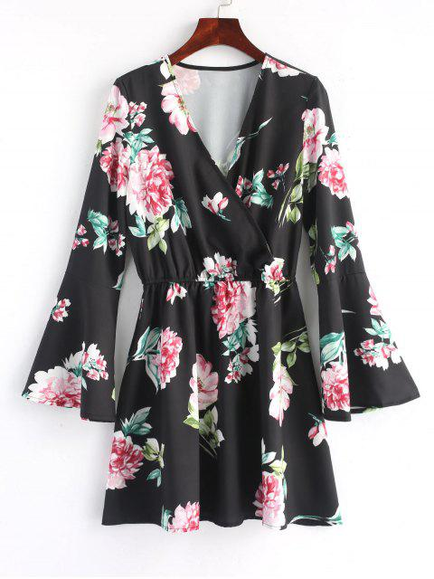 fancy Floral Flared Sleeve Mini Dress - BLACK L Mobile