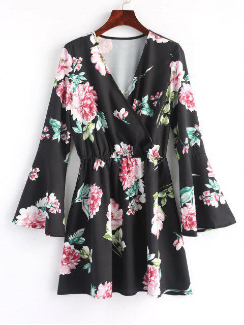 Mini-Robe Florale à Manches évasées - Noir L Mobile