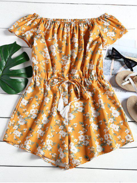 sale Off Shoulder Floral Print Drawstring Romper - FLORAL M Mobile
