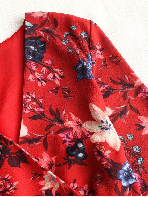Mini vestido de volantes manga larga floral - Rojo L Mobile