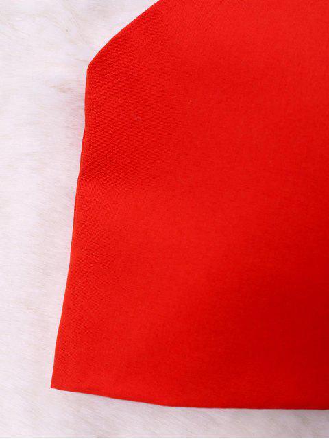 Atrás Camiseta sin mangas con diseño de lazo fruncido - Rojo XL Mobile