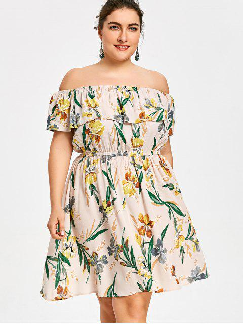 affordable Plus Size Hawaiian Floral Off The Shoulder Dress - COLORMIX XL Mobile
