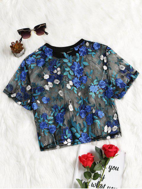 Blouse en Maille Transparente à Broderie Florale - Bleu S Mobile