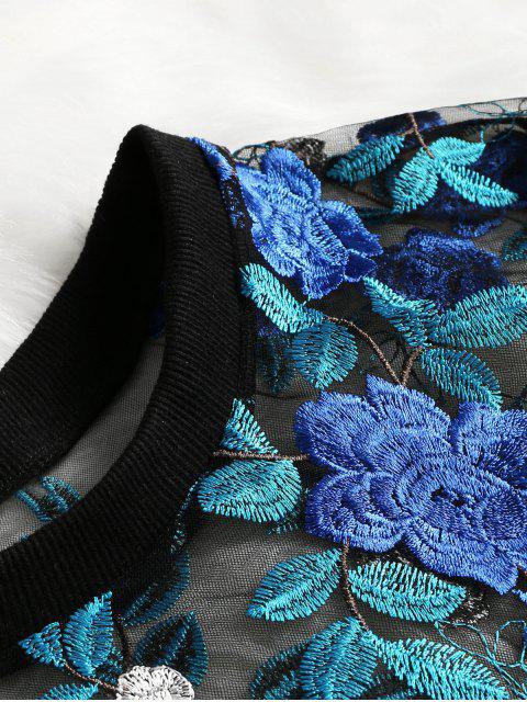 Blouse en Maille Transparente à Broderie Florale - Bleu L Mobile